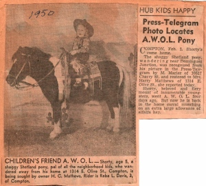 TT AWOL Pony Lost & Found 1950
