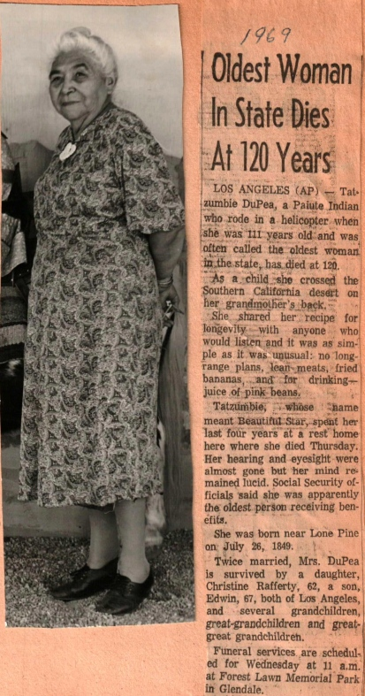 Tat-zumbie DuPea, Oldest Woman in State Dies 1969