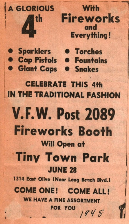 Fireworks at TT July 4th, 1948