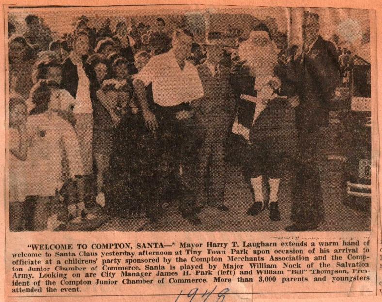 Santa & Mayor at Tiny Town 1948