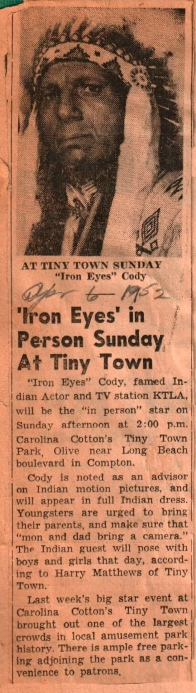 Iron Eyes in Person at TT 1952